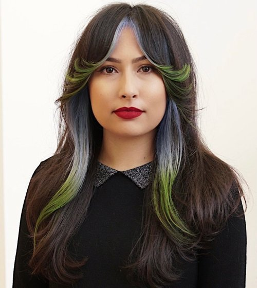 Bangs and Pieces Pained in Bright Colors