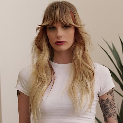 Full Bangs with Curled Ends