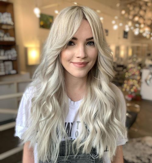 Long Blonde Hairstyle with Beach Waves and Bangs