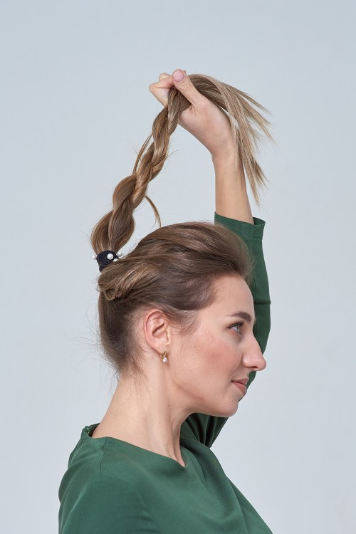 Messy Bun with Extensions Tutorial Step