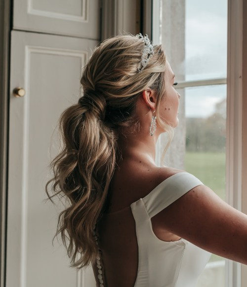 Bridal Hairstyle Ponytail with a Crown