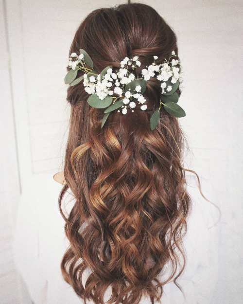 Brunette Bridal Half Up Half Down with Fresh Flowers