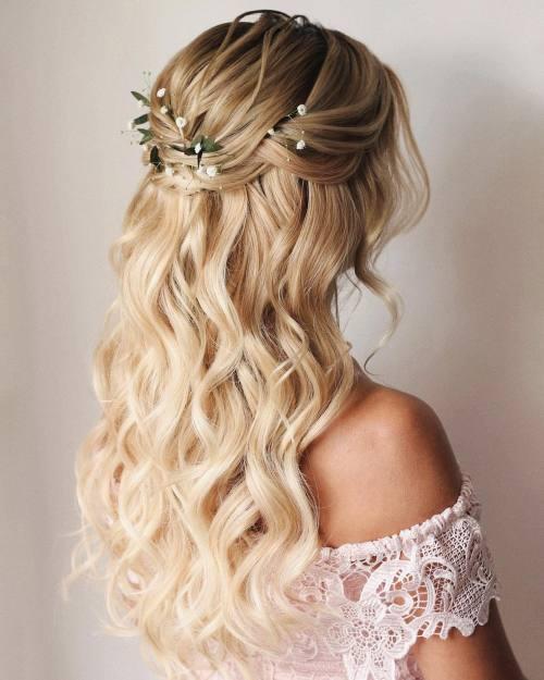 Bridal Half Up Half Down Hair with Foliage and Gypsophila