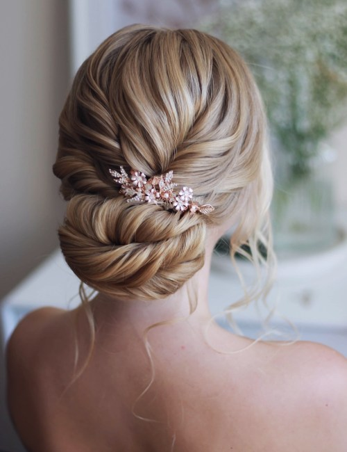 Blonde Bridal Low Bun with a Rose Gold Clip