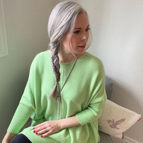 Side Fishtail Braid on Bright Gray Hair