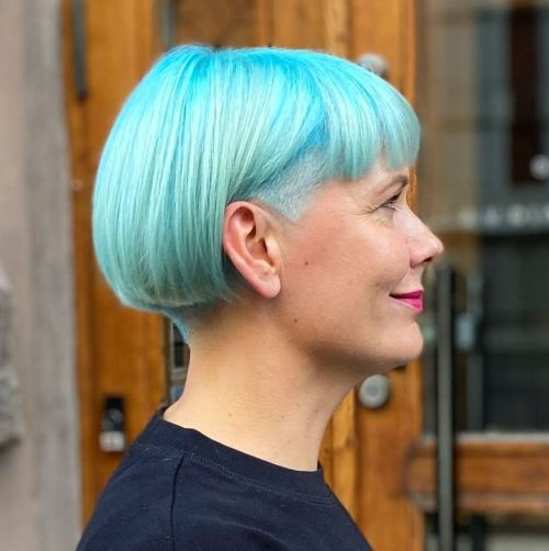 Blue Bob with Blunt Bangs and Undercut