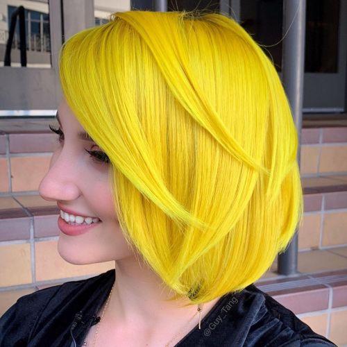 Bright Yellow Layered Bob