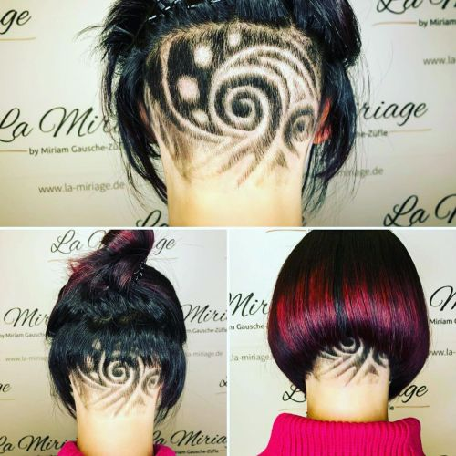 A-Line Bob with Hair Tattoo in the Back