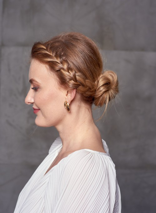 Front French Braid into a Low Bun Hairstyle