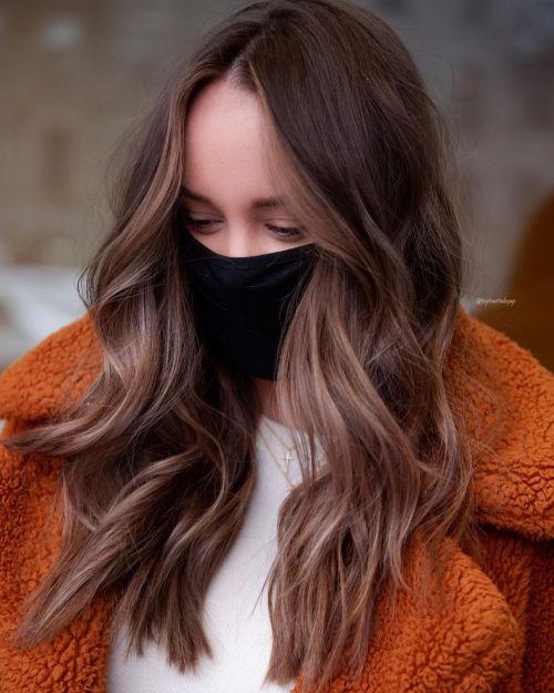 Long Brown Hair with Face-Framing Highlights
