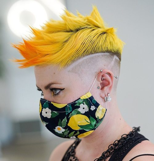 Textured Yellow Mohawk with Shaved Sides