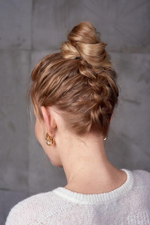 Hairstyle with an Upside Down Dutch Braid and a Bun
