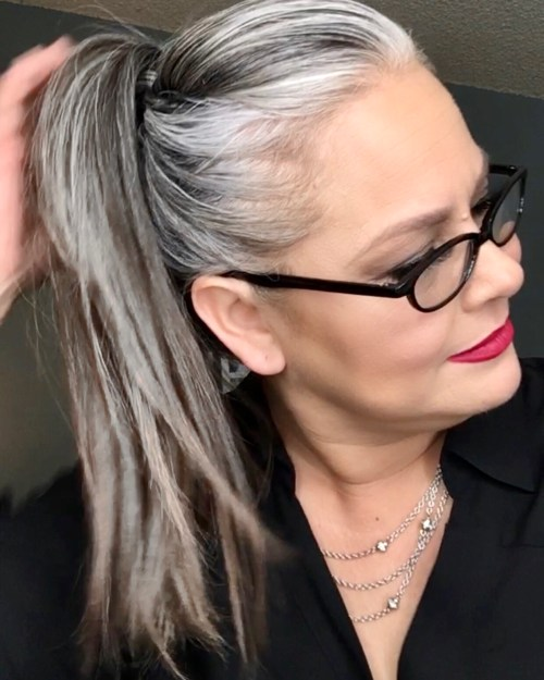 High Ponytail with a Fringe Twist