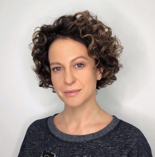 Curly Bob with Ash Brown Highlights