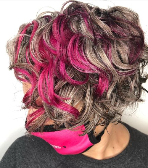 Gray Curly Bob with Bright Pink Highlights