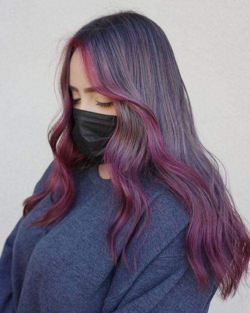 Gray Brown Hair with Purple Framing