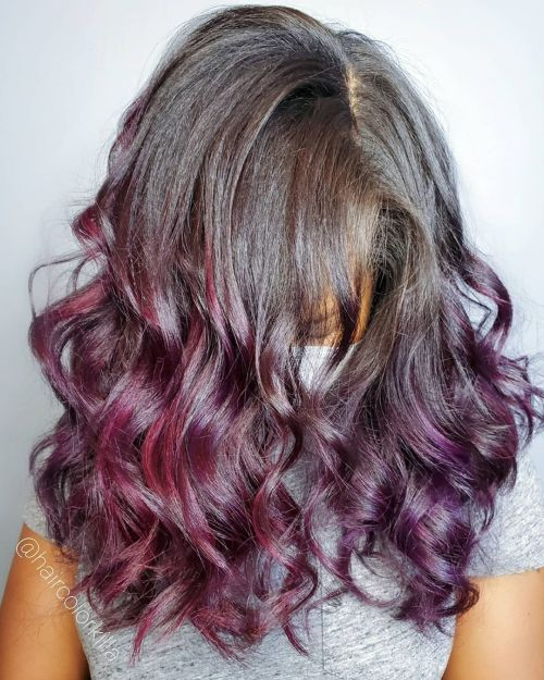 Plum Color Ombre on Medium Brown Hair