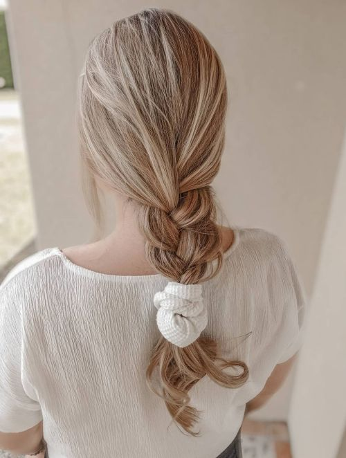 Loose French Braid Hairstyle for Summer