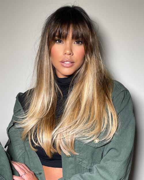 Long Highlighted Hair with Straight Bangs