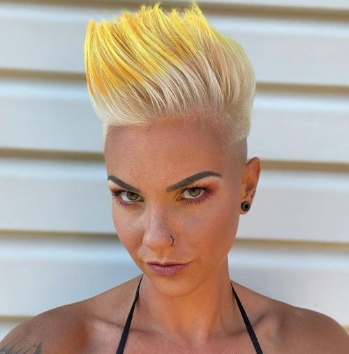Blonde Shaved Pixie with Dip Dye