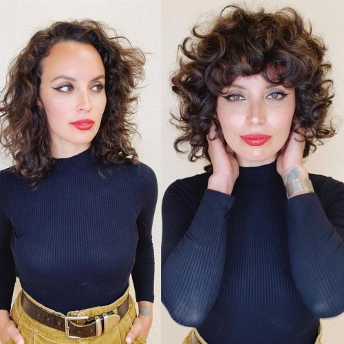 Curly Bangs Before and After