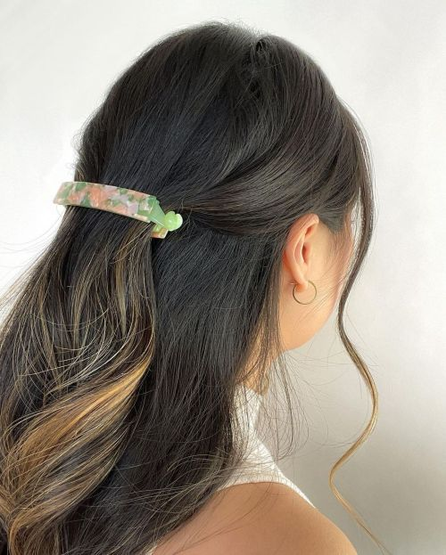 Half Up Half Down Hairstyle with a Barette