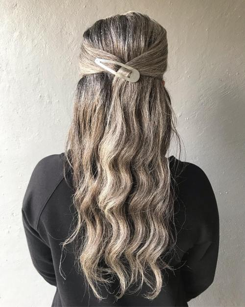 Simple Hairstyle for a Woman over with Long Hair