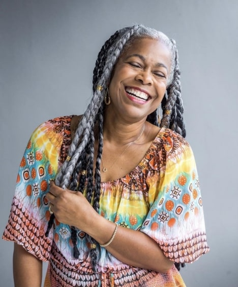 Older Black Woman with Long Braids Hairstyle