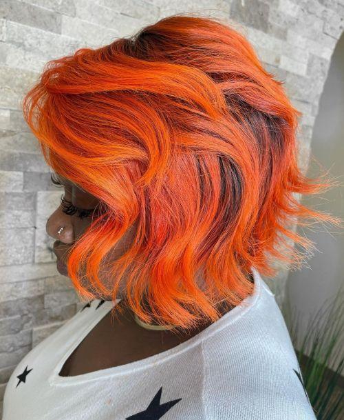 Bright Orange Balayage on Black Hair