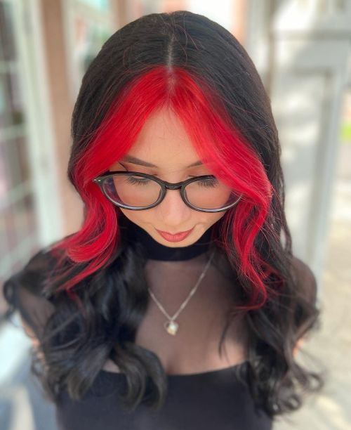 Black Hair and Red Front Highlights