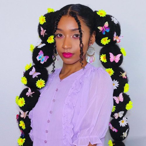 E Girl Hairstyle with Bubble Pigtails and Butterflies