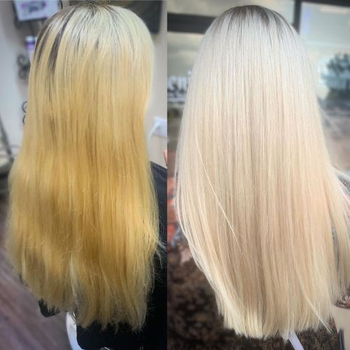 Purple Toner on Blonde Hair Before and After