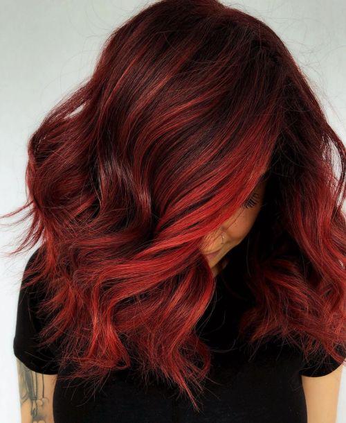 Dark to Bright Red Hair Balayage