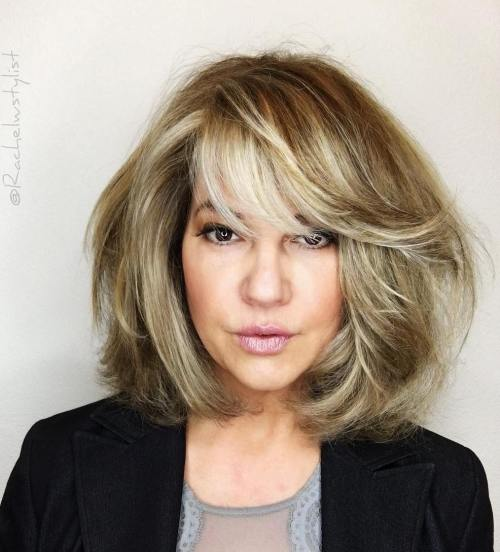 Messy Lob With Side-Swept Bangs
