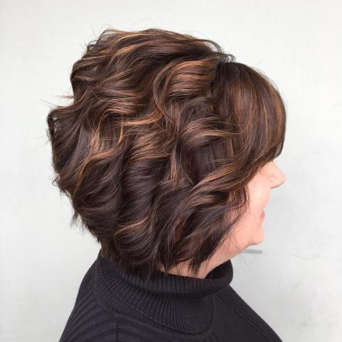 Stacked Brown Bob With Textured Waves