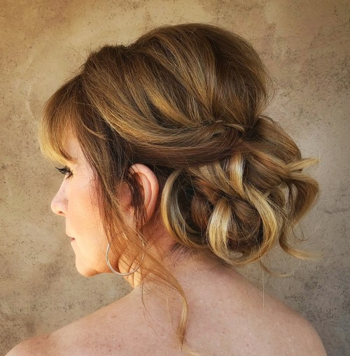 Loose Updo With Twists And Highlights