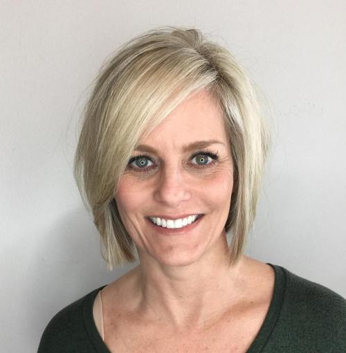 Blonde Bob With Deep Side Part