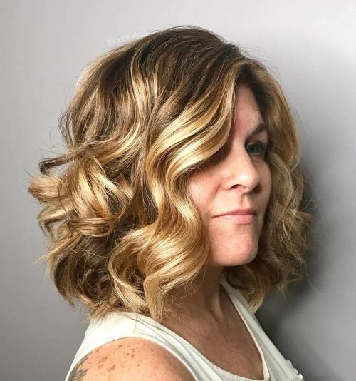 Thick Wavy Lob With Golden Highlights