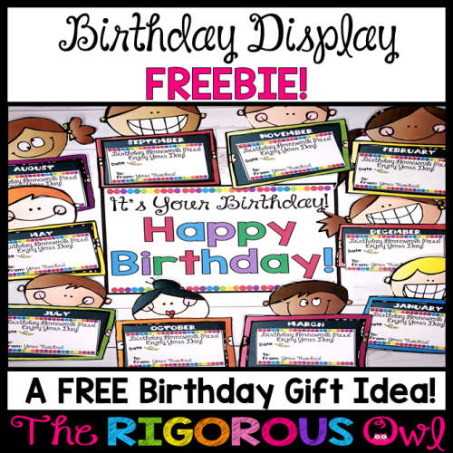 Birthday Display Back to School Freebie