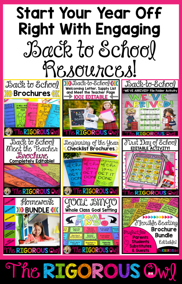 Back to School Resources from The Rigorous Owl