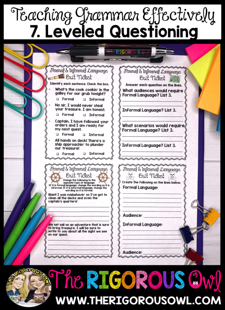 Teach grammar and language effectively with leveled questioning exit tickets