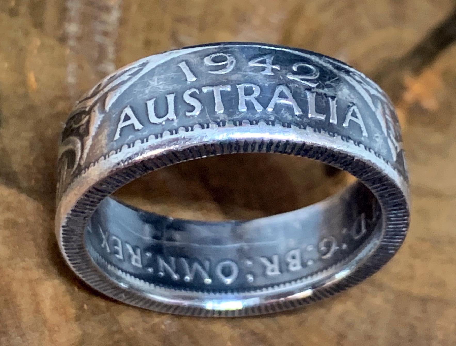 Wattle Emu Thumb Ring Men or Women Sterling Silver COIN RING Australian  1945 Florin Custom Size. Kangaroo