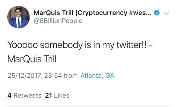 @6BillionPeople claims he has been hacked