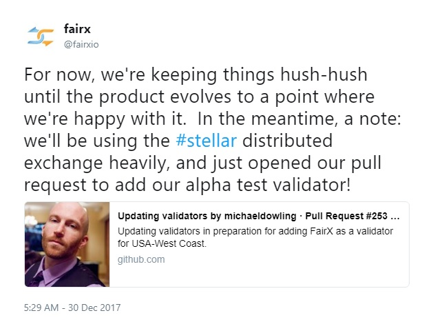 FairX is using the Stellar network