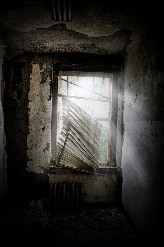 Broken home haunted window dark house