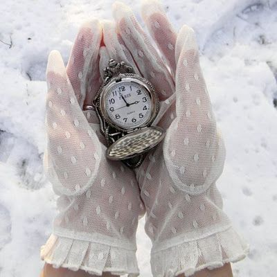 Time, watch, watchglass, or a pocket watch in a gloved hand