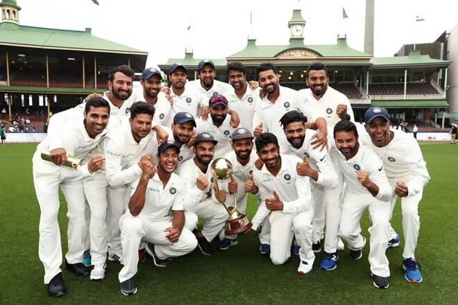 Indian Cricket Team after their win against Australia at Gabba, Brisbane, 2021.