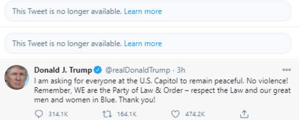 Donald Trump tweet about Capitol violence before twitter suspension