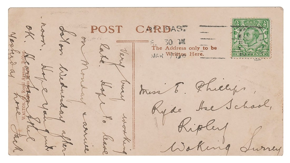 A photo copy of a postcard, denoting, here, a letter written to oneself before the pandemic: letter from time to come