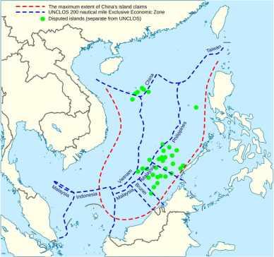 China's claims vs UNCLOS 200 Nautical Miles EEZ.